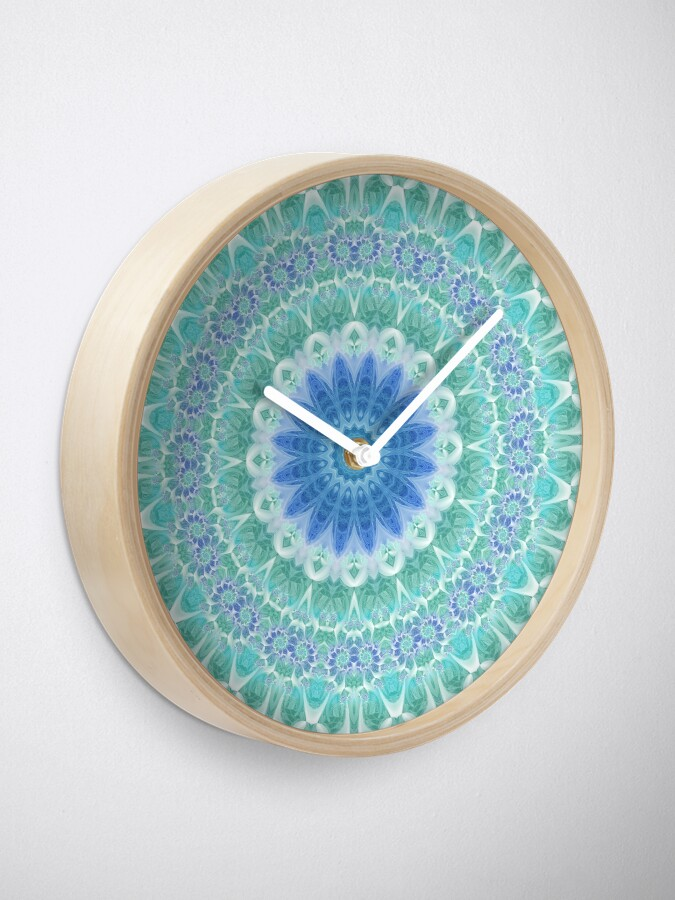 Alternate view of Blue and Turquoise Mandala Clock