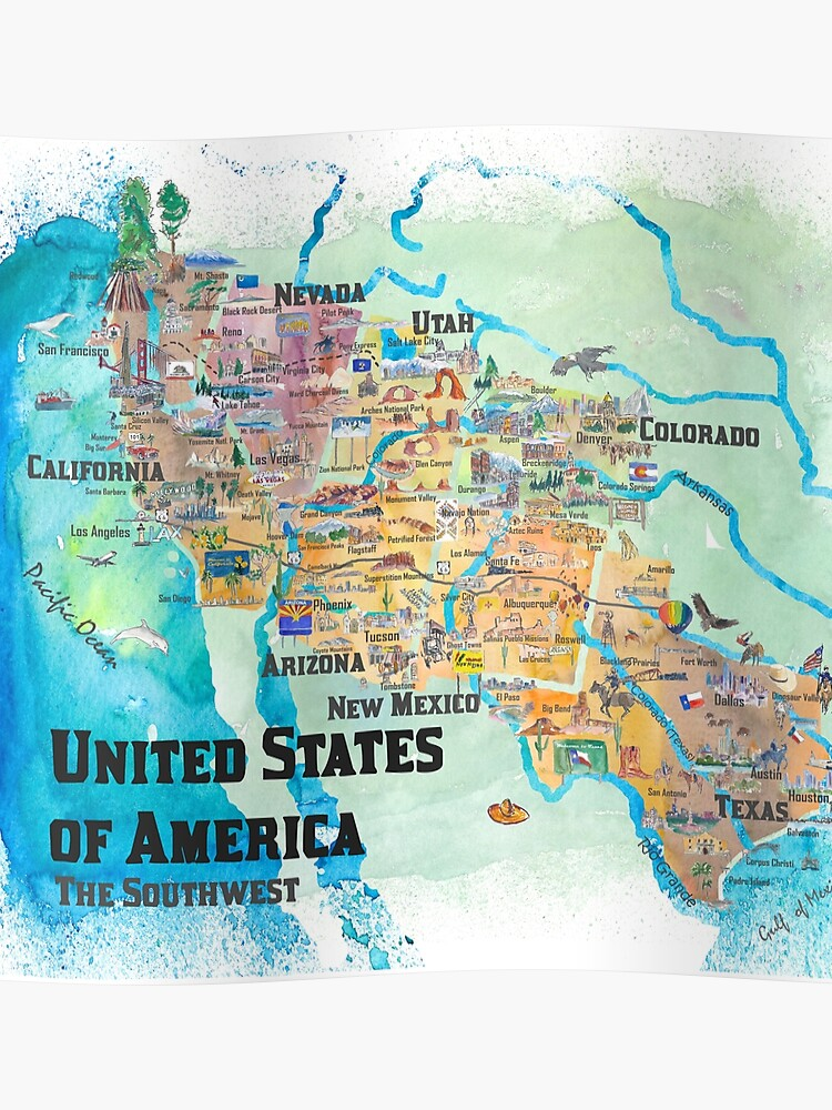 USA Southwest States Travel Poster Illustrated Art Map | Poster