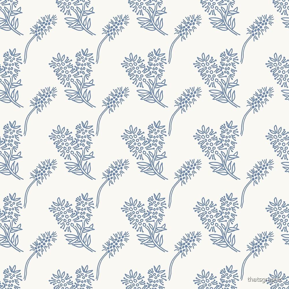 Sweet blue and white chintz like bottlebrush pattern by thatsgraphic