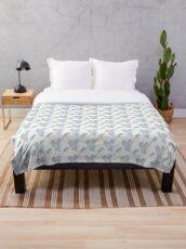 Sweet blue and white chintz like bottlebrush pattern Throw Blanket