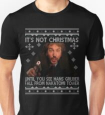 Die Hard Its Not Christmas Unil Hans Gruber Falls Off Nakatomi Tower Knit Pattern Slim Fit T-Shirt