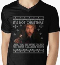 Die Hard Its Not Christmas Unil Hans Gruber Falls Off Nakatomi Tower Knit Pattern Men's V-Neck T-Shirt