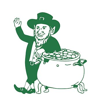 Green Leprechaun Standing by Pot of Gold Drawing by patrimonio