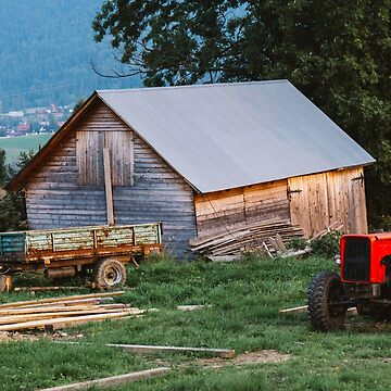 Red Tractor On Evening Farm by PatiDesigns