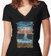 Stony Sunset Women's Fitted V-Neck T-Shirt