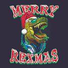 Merry RexMas T Rex Christmas Dinosaur by MudgeStudios