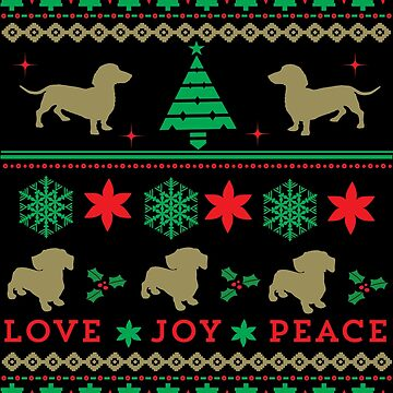 Cute Dog Dachshund Ugly Christmas Sweater Holiday Design Shirt by tronictees