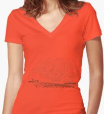 Retro landscape Women's Fitted V-Neck T-Shirt