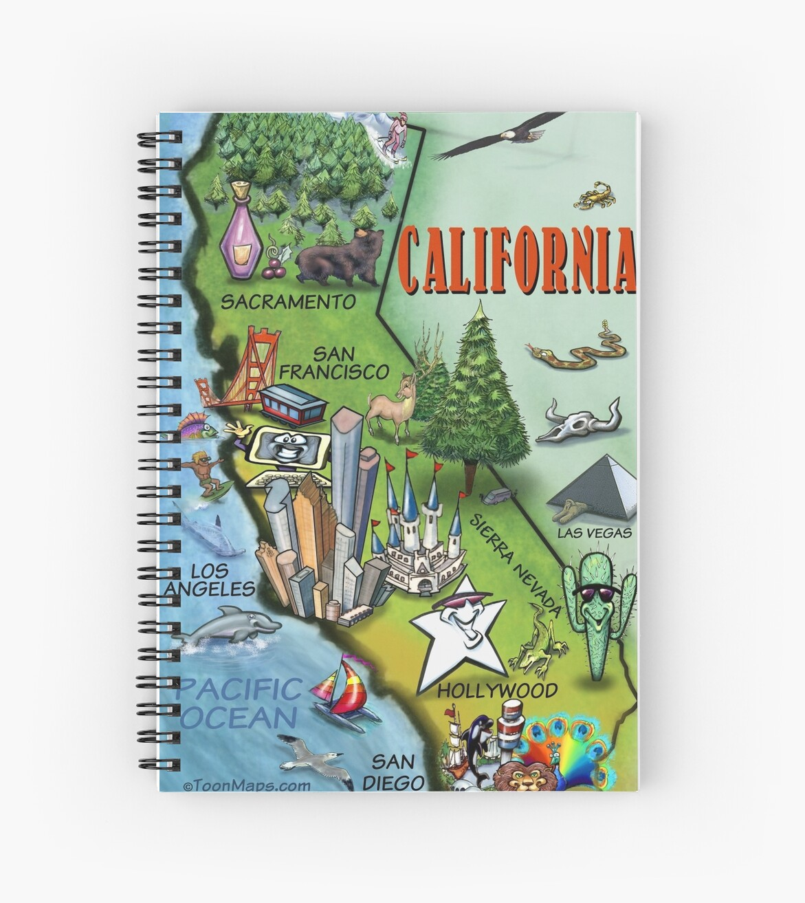 California Map Cartoon.California Cartoon Map Spiral Notebooks By Kevin Middleton Redbubble