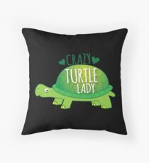 Crazy Turtle Lady with green sea turtle Throw Pillow