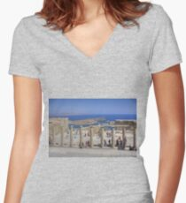 Lindos Stoa Women's Fitted V-Neck T-Shirt