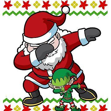 Dabbing Santa Claus and Elf Ugly Christmas by frittata