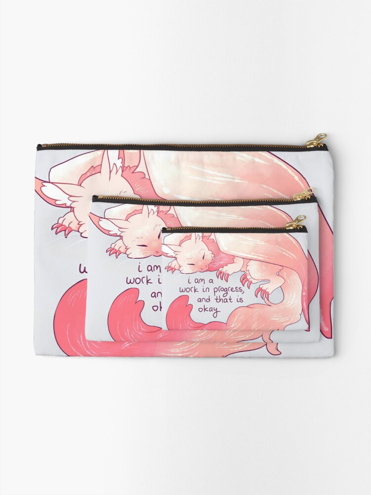 "Alternate view of ""I am a work in progress, and that is okay"" Snuggly Gargoyle Dragon Zipper Pouch"
