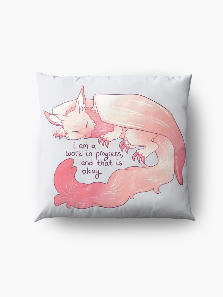 "Alternate view of ""I am a work in progress, and that is okay"" Snuggly Gargoyle Dragon Floor Pillow"
