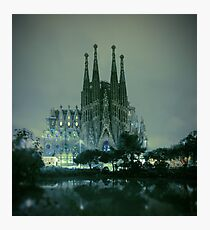 Sagrada Familia at night Photographic Print