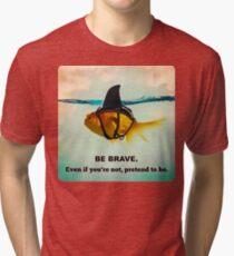 Be Brave Gold Shark Tri-blend T-Shirt