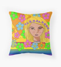 Sun Flower Girl Throw Pillow