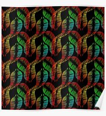 Neon feathers and leaves on a black background. Poster