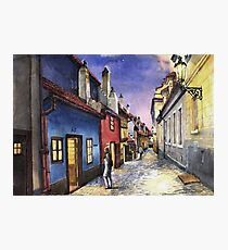 Prague Old Street Golden Line  Photographic Print