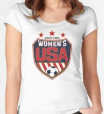 USA Frauenfußball National Shield seit 1985 Tailliertes Rundhals-Shirt