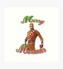 Merry Marauder Skin-Fortnite-Gingerbread Man Art Print