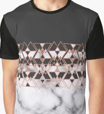 Modern Rose Gold Black White Marble Geometric Graphic T-Shirt