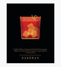 Sazerac - Cocktail - Klassische Cocktails-Serie - Schwarz und Gold - Modernes, minimalistisches Dekor Fotodruck