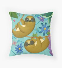 sloth in the jungle Throw Pillow
