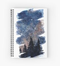 Watercolor pine forest and galaxy painting. Brush stroke version Spiral Notebook