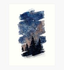 Watercolor pine forest and galaxy painting. Brush stroke version Art Print