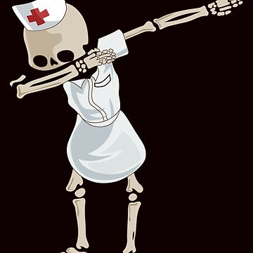 Dabbing Nurse Skeleton Funny Down The Hall RN LPN T-Shirt Gift: | Zombie Nurse | Halloween Humor | Medical | Caduceus |  by larspat