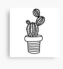 Succulents 1 - black and white Canvas Print