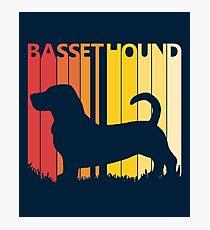 Vintage Retro Basset Hound Christmas Gift Photographic Print