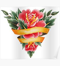 Old School Floral Sword with Ribbon Poster