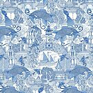 chinoiserie toile blue by Sharon Turner