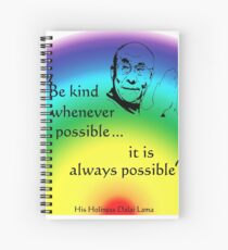 Dalai Lama: Be Kind - Rainbow Background Spiral Notebook