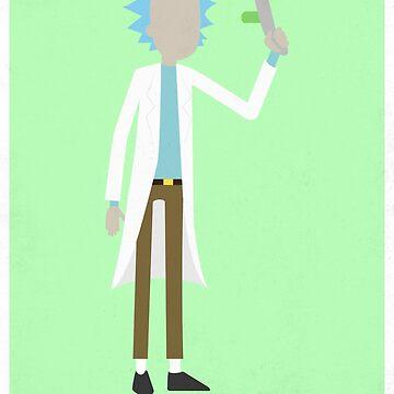 Rick And Morty Rick Sanchez Wubba Lubba Dub Dub Minimalist Poster by TheMinimalist