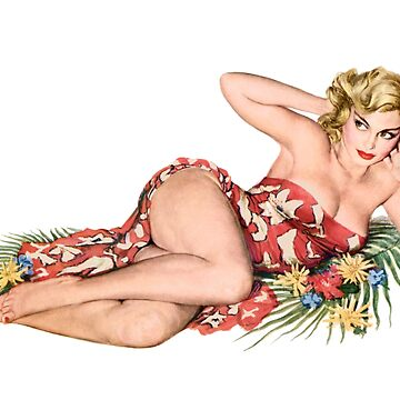 pinup girl pretty blonde with hibiscus flowers  by headpossum
