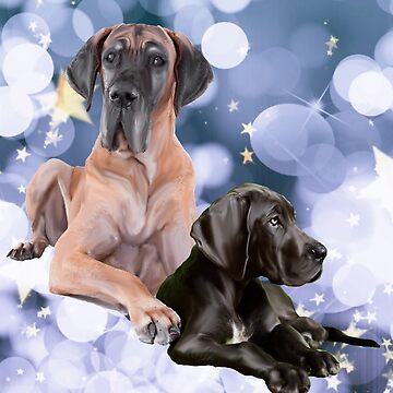 Great Danes and Blue Bubbles by IowaArtist