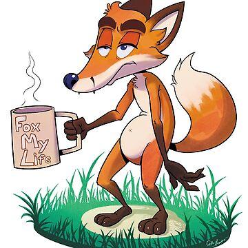 """Fox My Life"" Tired Coffee Fox by Dawmino"