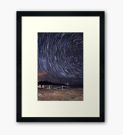 Star Trails Over Lake Clifton  Framed Print