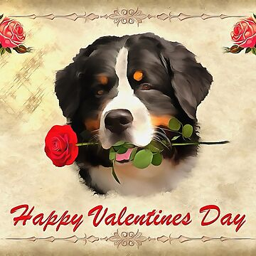 Saint Bernards Happy Valentines Day. (Painting.) by cmphotographs