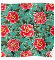 Vintage Red Floral Watercolor Pattern Poster