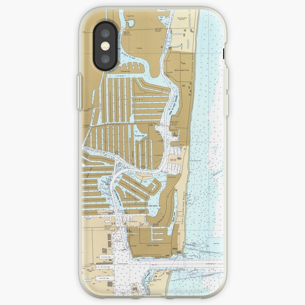 Map of Fort Lauderdale FL (1991) iPhone Case & Cover