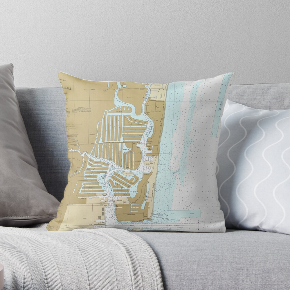Map of Fort Lauderdale FL (1991) Throw Pillow