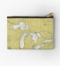 Vintage Map of The Great Lakes (1979) Studio Pouch