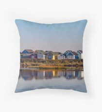 Mudeford Beach Huts Throw Pillow