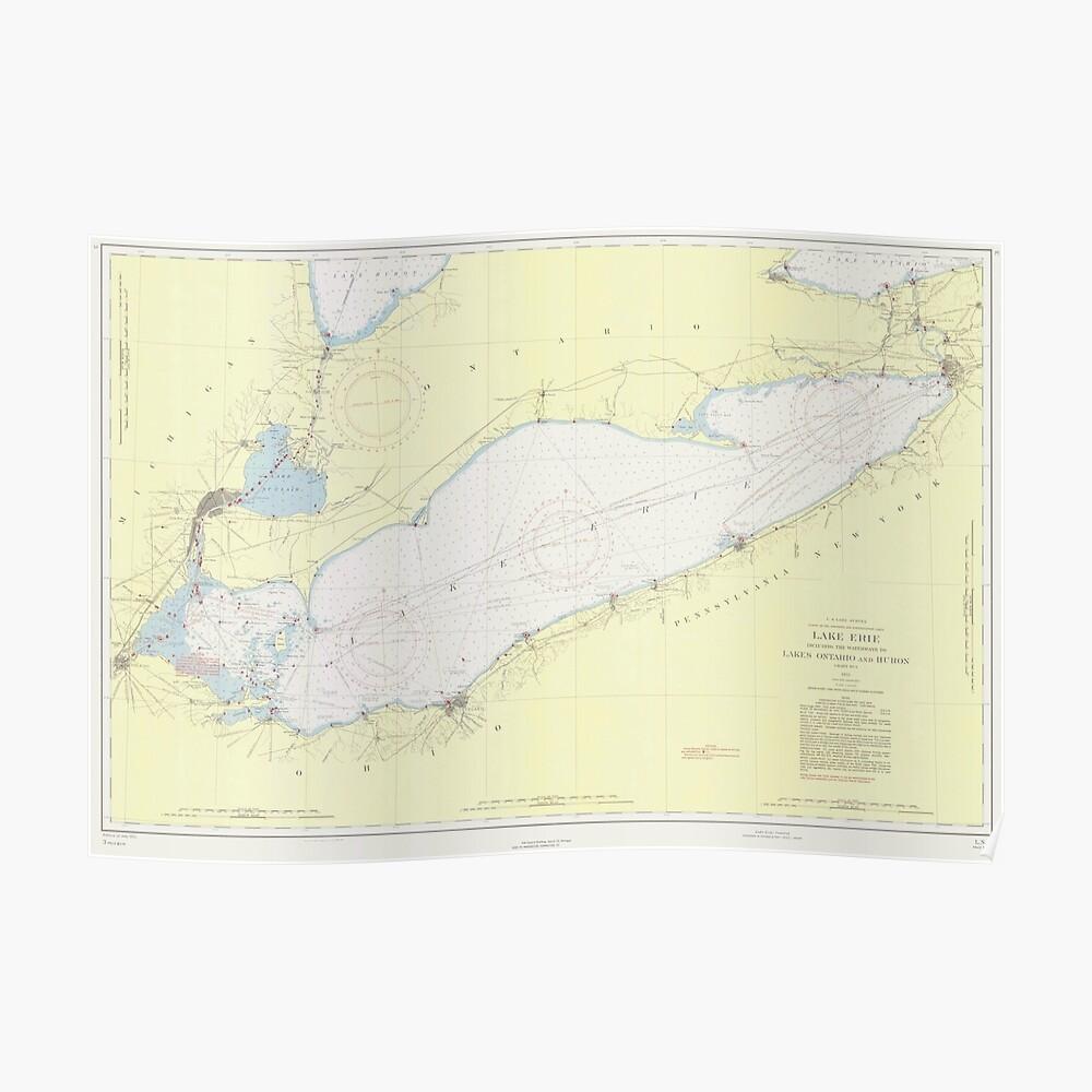 Vintage Karte des Eriesees (1955) Poster