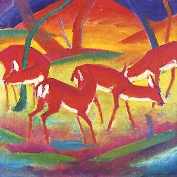 Vintage Franz Marc Red Deer 1916 by AllVintageArt