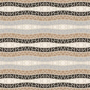 Mosaic Wavy Stripes in Cream, Gray and Browns by MelFischer